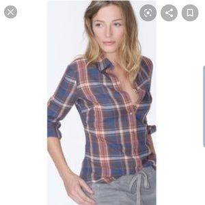 James Perse Tomboy Plaid Blouse Size 1 Small